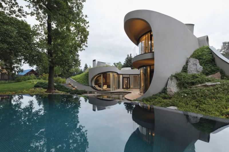Organic Meets Futuristic Architectural Design: House in The Landscape Organic Meets Futuristic Design House in The Landscape 2