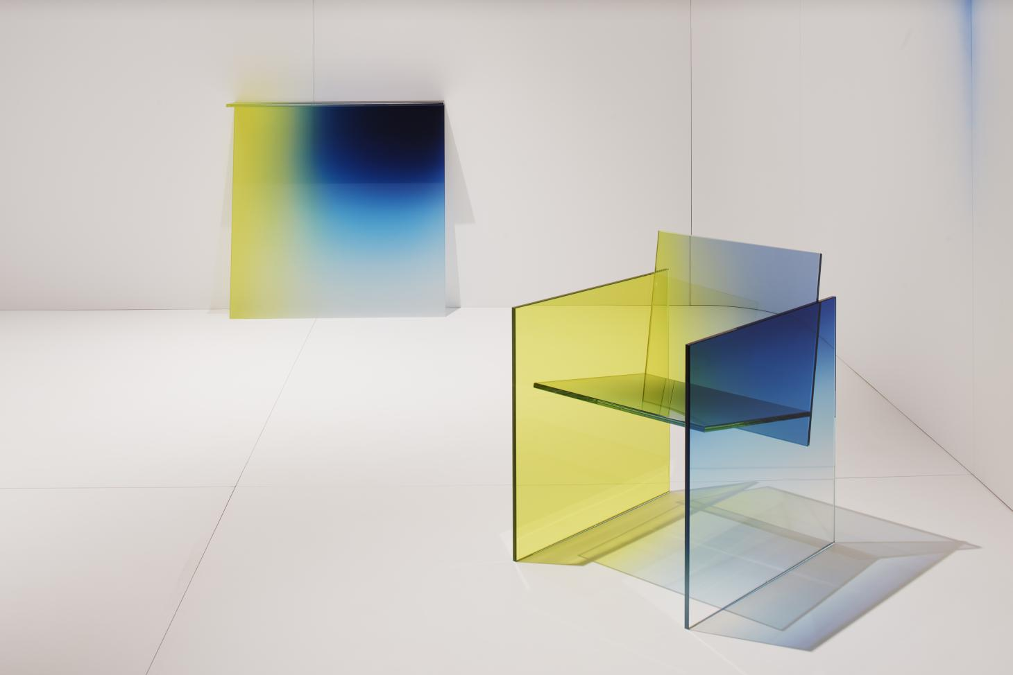 Glass chair and console with yellow to blue gradient   peter blake gallery at design miami basel 2021 image credit james harris 3